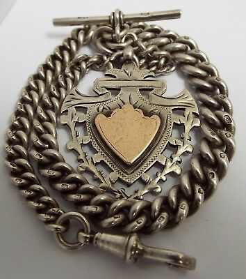 Superb Clean Heavy English Antique 1909 Solid Sterling Silver Albert Watch Chain