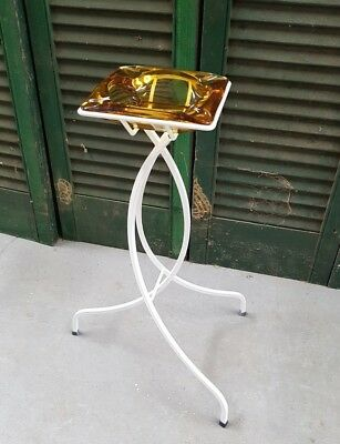 Retro Vintage Ashtray  Smokers Stand - Mid Century Atomic - Amber Glass