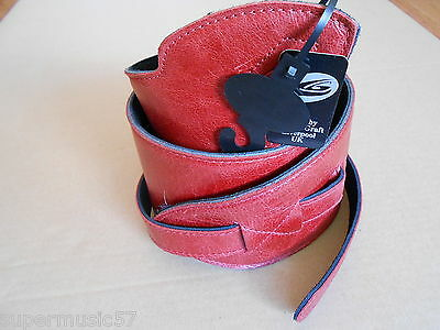 """Uk Made Antique Red 3.75"""" Wide Big Softee Real Leather Adjustable Guitar Strap"""