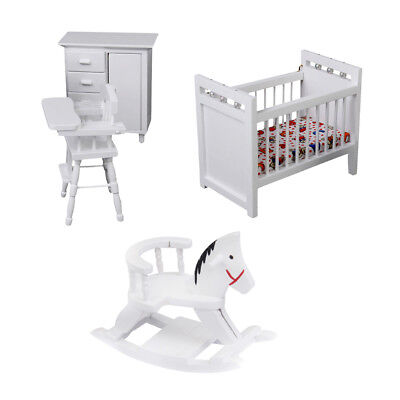 White Wooden Doll House Furniture Baby's Room Sets For 1/12 Dollhouse Decor
