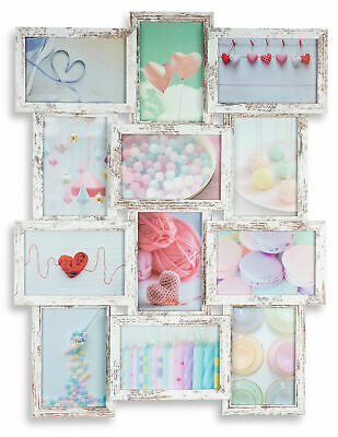 Levandeo Marco Collage 12 Fotos 10x15 y 13x18 Shabby Chic MDF Madera Cristal