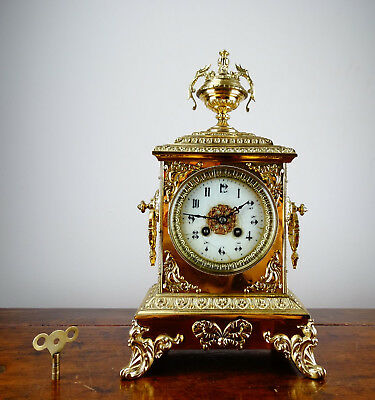 Antique Victorian French Gilt Brass Mantel Clock by Japy Freres 8 Day Movement