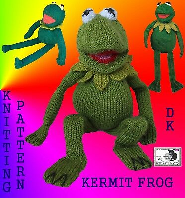 Kermit from the muppets Kermit frog toy knitting pattern frog approx 15ins