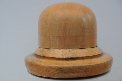 REDUCED Vintage Wooden Millinery Hat Block +Wet Felted Cloche Hat + Felt Flower