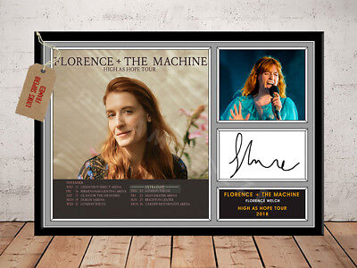FLORENCE AND THE MACHINE SIGNED Photo Print HIGH AS HOPE TOUR 2018 Free Postage