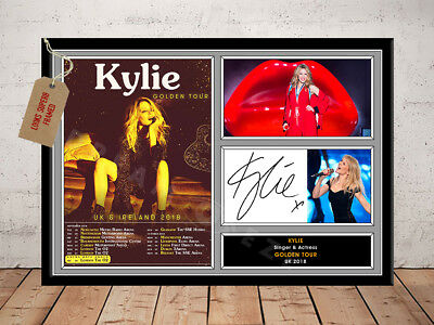 KYLIE MINOGUE SIGNED Photo Print GOLDEN TOUR 2018 Free Postage