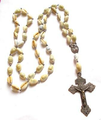 VINTAGE 40's CREAM SEASHELL SHELL WIRE WORK ROSARY BEADS CROSS PENDANT NECKLACE