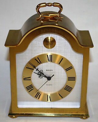 Vintage Swiza Swiss Quartz Mantle Clock Fully Working with New Battery
