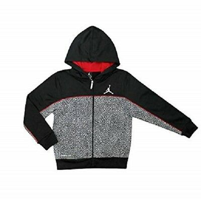 603755ee614cb4 Nike Jumpman Air Jordan Boy s Therma-Fit Full Zip Hoodie Black Red~MEDIUM