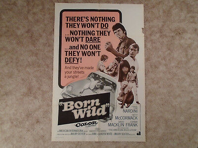 Born Wild 1968 Exploitation Movie Poster The Young Animals Edge Tear Right Chip