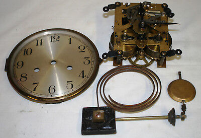 Antique Baduf Chiming 8 day Clock Movement + Dial Glass Hands Pendulum & Chimes