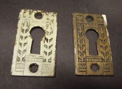 "Pair Antique Eastlake Victorian Brass Key Hole Covers Hardware 1 3/4"" X 1 1/8"""