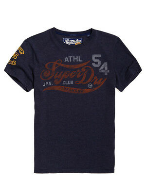 Superdry Mens Academy Athletic T-Shirt in Techno Navy Marl RRP £25, BNWT