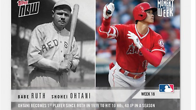 2018 Topps Now Rookie Card Babe Ruth Shohei Ohtani Moment Of The Week Mow-18