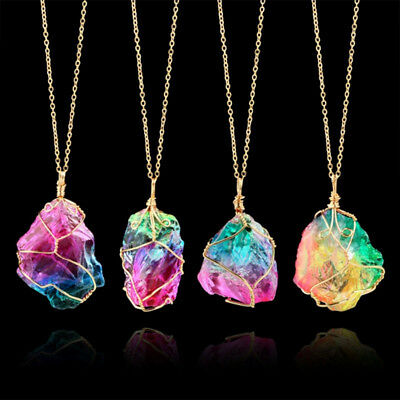Cute Colorful Rough Stone Crystal Necklace Pendant Peace Charm Jewellery D