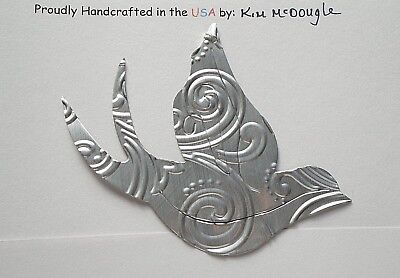 Bird Double Sided Christmas Tree Ornament Handmade Recycled Aluminum Metal Can