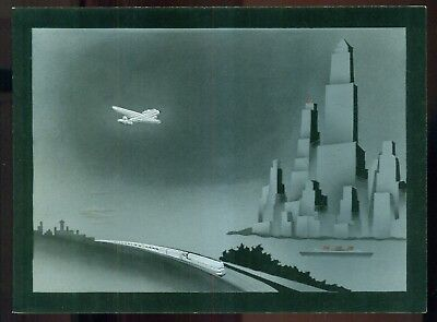 """1930's Port Columbus Tele-News """"Art Deco"""" Silver Embossed Holiday Greeting Card"""