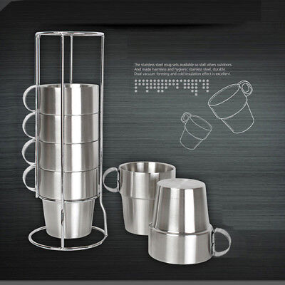 6pcs Travel Mug with Handle for Coffee Tea Stainless Steel Tea Cup Camping