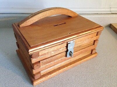 Vintage 1970's Oak Church Collection Box, Hand Crafted
