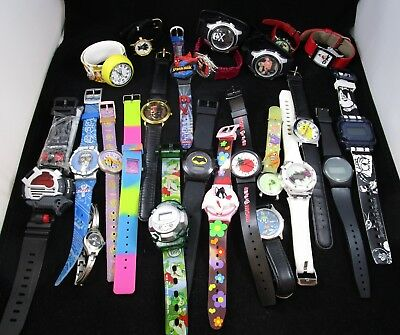 Wristwatch Untested Lot of 24 Digital Analog Characters Brands