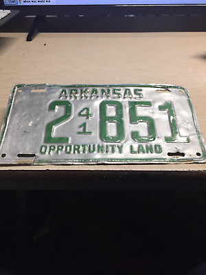 "1941 Arkansas License Plate 2 851 Opportunity Land World War Ii """"77 Years Old"""""