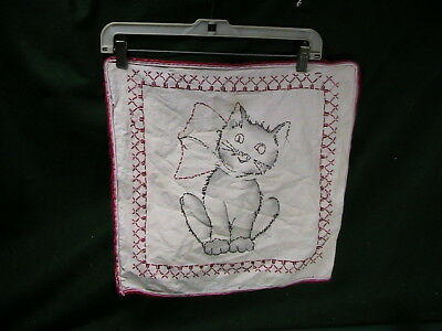Vintage Hand Embroidered crazy Kitten Cat Kitty Pillow Case Sham Cover