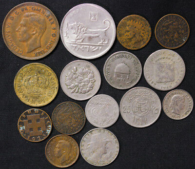 Lot of 15 World Foreign Coins 1800's 1900's