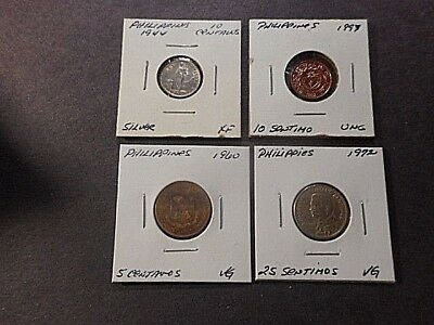 4 PHILIPPINES COINS 1944s/1960 /1972/1997, XF/VG/ VG/UNC CONDITION