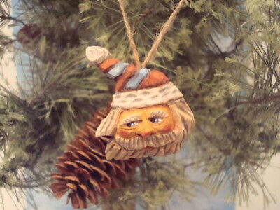 Hand Carved Butternut Traditional Heirloom Striped Hat Santa Ornament by Artist