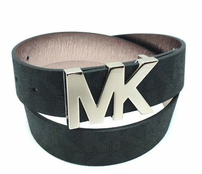 Michael Kors 553376 Black Logo Signature Leather Silver MK Plaque Buckle Belt