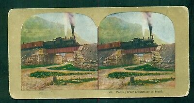 """1910 Train Stereoview Card """"Pulling Over Mountains in South"""""""