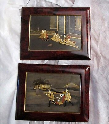 Japanese Meiji Period Lacquer Plaques Paintings Gold Bone Pearl Inlay