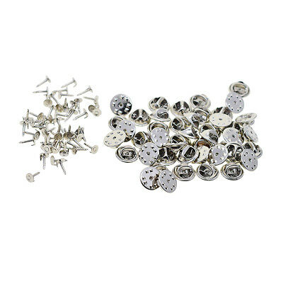50 Sets Badge Hat Pin Metal Tie Back Lapel Butterfly Clasps Fasteners Silver