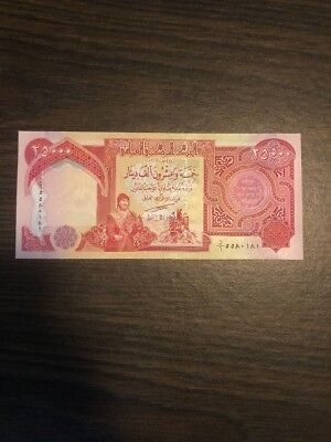 25,000 NEW CRISP IRAQI DINAR UNCIRCULATED CURRENCY 1 x 25,000 25000 IQD