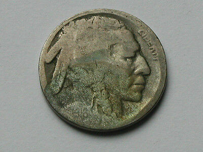 USA 191? D FIVE CENTS (5¢) Indian Head/Buffalo Nickel Coin with ACID-DATE DAMAGE