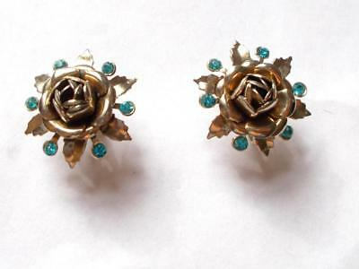 Vintage 1940's Unsigned Coro Style Gold Tone Blue Crystal Rose Bud Earrings