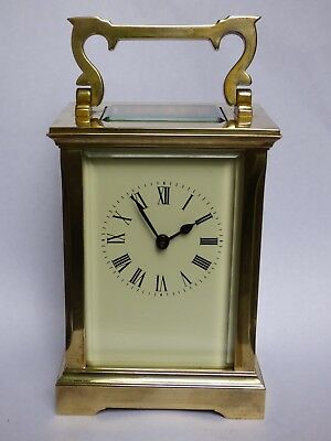 A Lovely Quality Brass Cased Acg Carriage Clock With Key, Movement Serviced