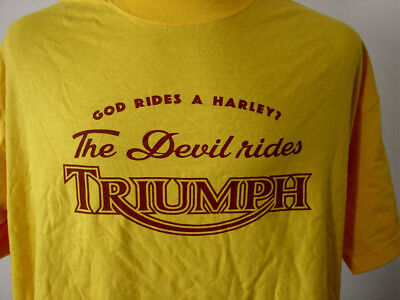 THE DEVIL RIDES TRIUMPH ★ schweres T-Shirt  NEU Siebdruck * Motorcycles * gold