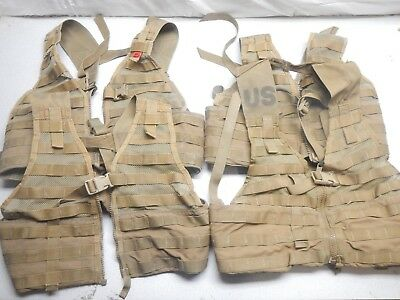 Qty 4 US Military MOLLE FLC Fighting Load Carrier Vest Coyote Tan Tactical LBV