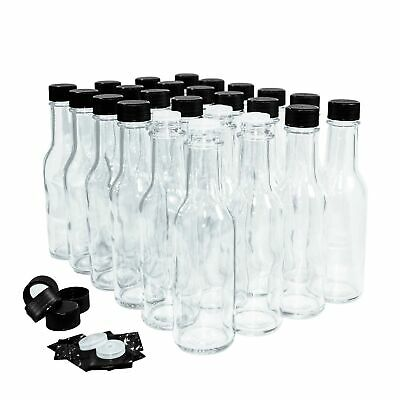 (24 Pack) 5 oz. Clear Glass Hot Sauce Bottle (woozy) with Black Cap + Shrink ...