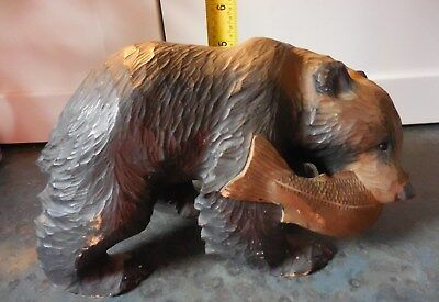 Large Antique Black Forest Carved Wood Bear w/ Fish in Mouth
