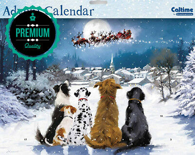 Advent Calendar (WDM0031) - Night Before Christmas - Dogs Watching Santa -...
