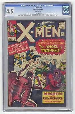 X-Men #5 CGC 4.5 VINTAGE Marvel Comic 2nd Scarlet Witch Quicksilver WHITE PAGES