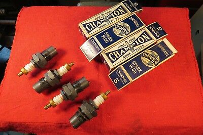 4 Vintage NOS Champion Spark Plugs for Chevrolet 5