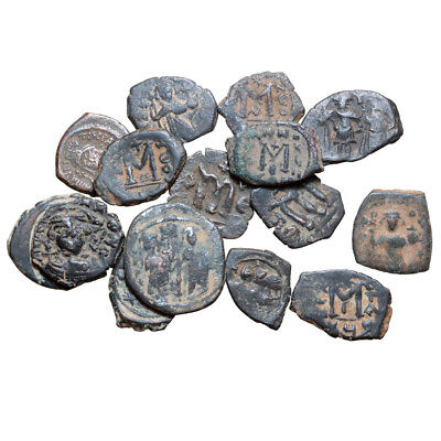 Mix Lot Of 15 Byzantine Bronze Coins Follis