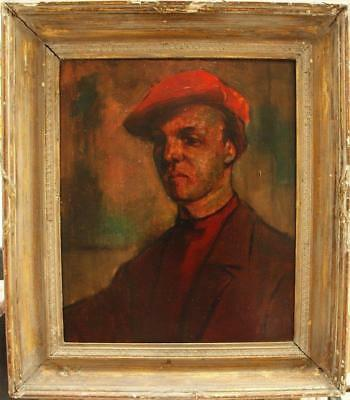 Early 20th Century POST IMPRESSIONIST PORTRAIT MAN RED CAP Antique Oil Painting