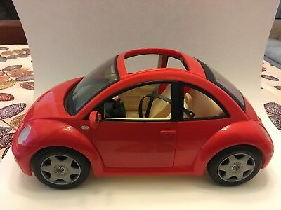 Red Vw Bug Barbie Car Volkswagon Beetle Key Flower Accessories