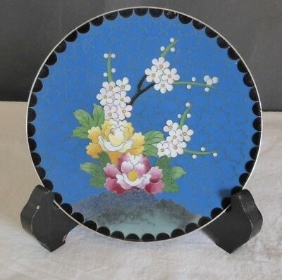 Small white metal Japanese cloisonne pin dish-Signed.
