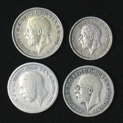 Lot of 4 Great Britain 3, 6 Pence silver coins 1934, 1929, 1931, 1936