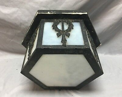 Antique Ceiling Light Fixture Decorative Wreath Milk Glass Old Vtg 99-18J